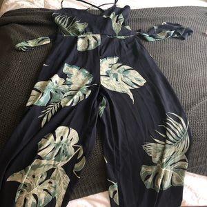 Lulus navy blue tropical jumpsuit